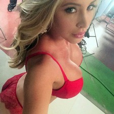 Very provocative blonde wife in sexy red underwear have great natural big boobs sexy..