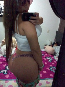 Horny latina bimbo selfshot her big booty and big ass in provocative thong