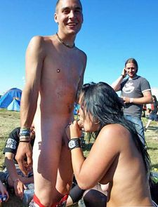 Public oral sex in the nudist camp