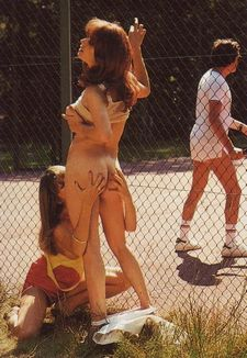 Sex on the tennis court. Yeah, eventually he turns around and sees them, then he fucks..