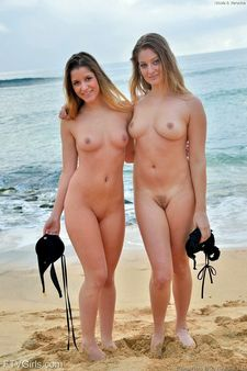 Beachside Two Girls Nude Picture.