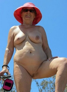 Naked granny with big nipples outdoors
