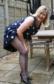 Hanging out the washing in blue sheer pantyhose