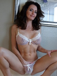 Horny MILF in the whire panty