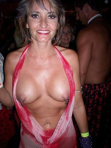 Incredible party photo with a sexy mature.