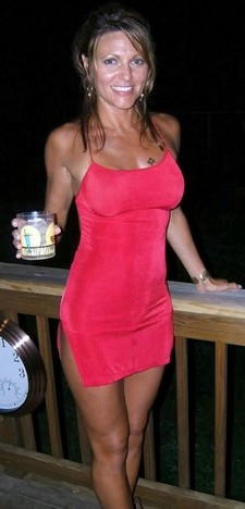 Handsome sexy mature in attractive red tight dress show her pretty tits and hot body